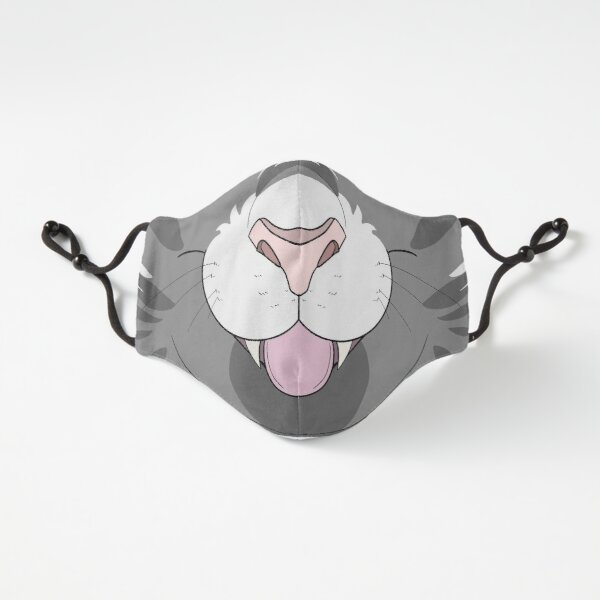 Gray Tabby Cat Face Mask Fitted 3-Layer