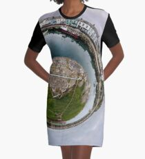 Hurry Head Harbour, Carnlough, County Antrim - Sky out Graphic T-Shirt Dress