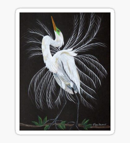 Great egret mating display Sticker