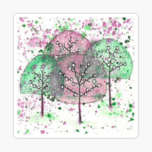 Cheerful hand painted abstract trees Sticker