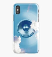 Spinning music speaker with clouds iPhone Case/Skin