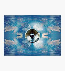 Spinning music speaker and blue sky Photographic Print