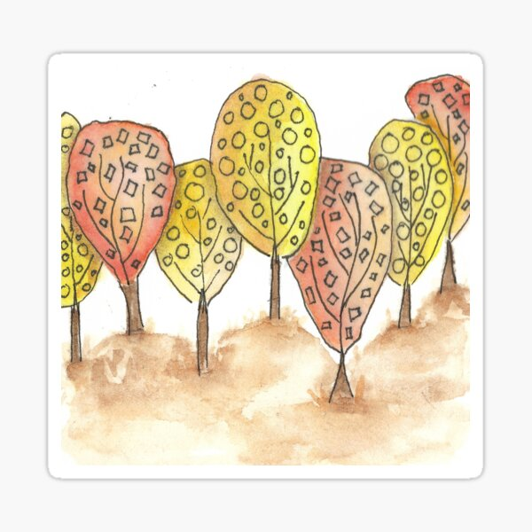 Hand painted abstract trees Sticker