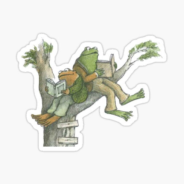 Frog and Toad reading in tree Sticker