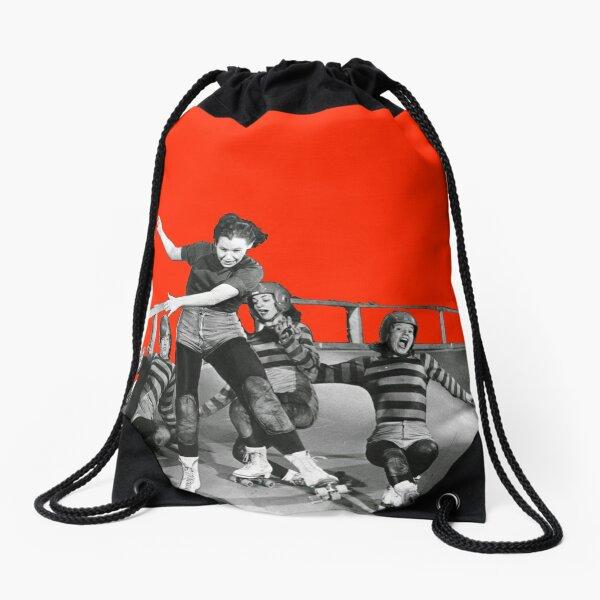 ROLLER DERBY VINTAGE GIRLS gerry murray Drawstring Bag