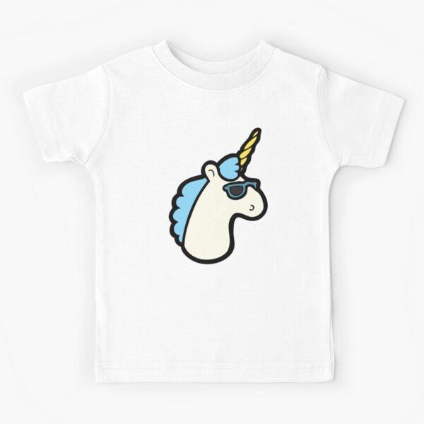 Unicorns Are Cool Pattern - Blue Kids T-Shirt
