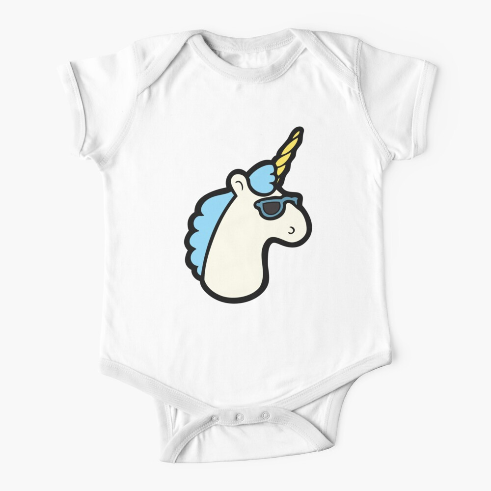 Unicorns Are Cool Pattern - Blue Baby One-Piece