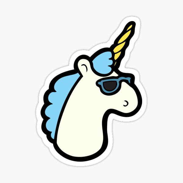 Unicorns Are Cool Pattern - Blue Sticker