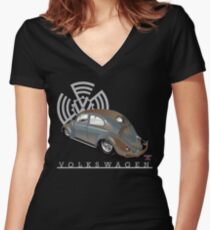 Split Window Bug Women's Fitted V-Neck T-Shirt