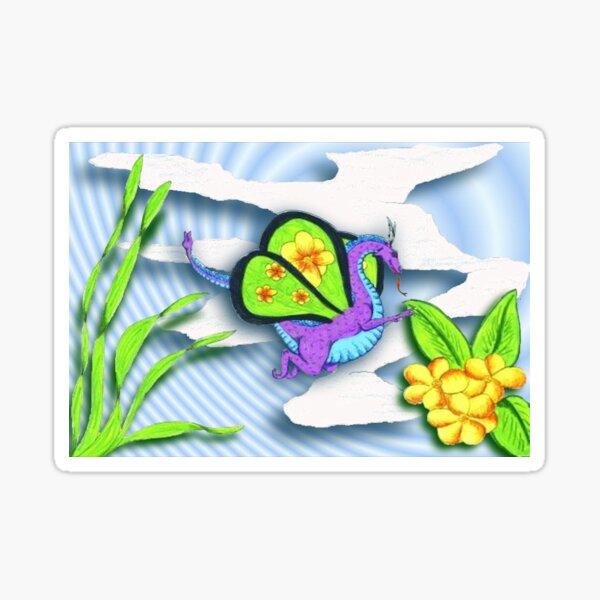 Happy Dragon Enjoying A Spring Flower Sticker