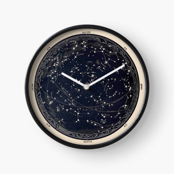 Antique Map of the Night Sky, 19th century astronomy Clock