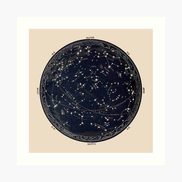 Antique Map of the Night Sky, 19th century astronomy Art Print