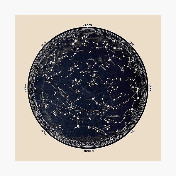 Antique Map of the Night Sky, 19th century astronomy Photographic Print