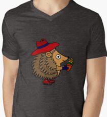 Cool Funny Hedgehog with Flower Men's V-Neck T-Shirt