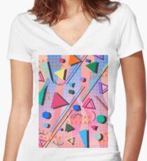 80s pop retro pattern 2 Women's Fitted V-Neck T-Shirt