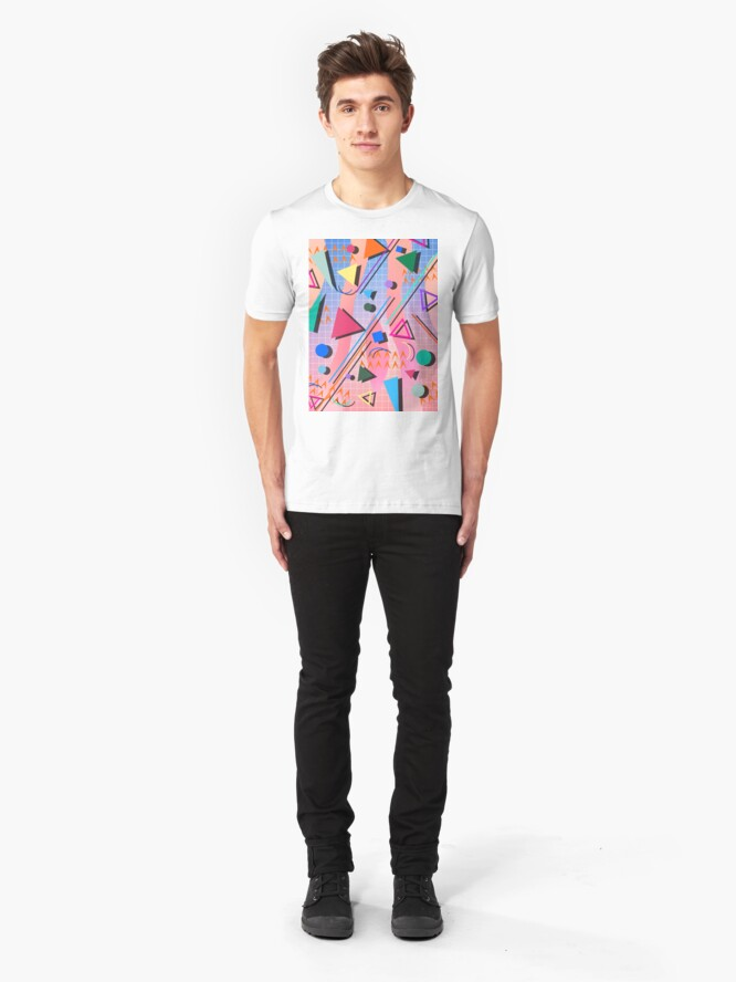 Alternate view of 80s pop retro pattern 2 Slim Fit T-Shirt