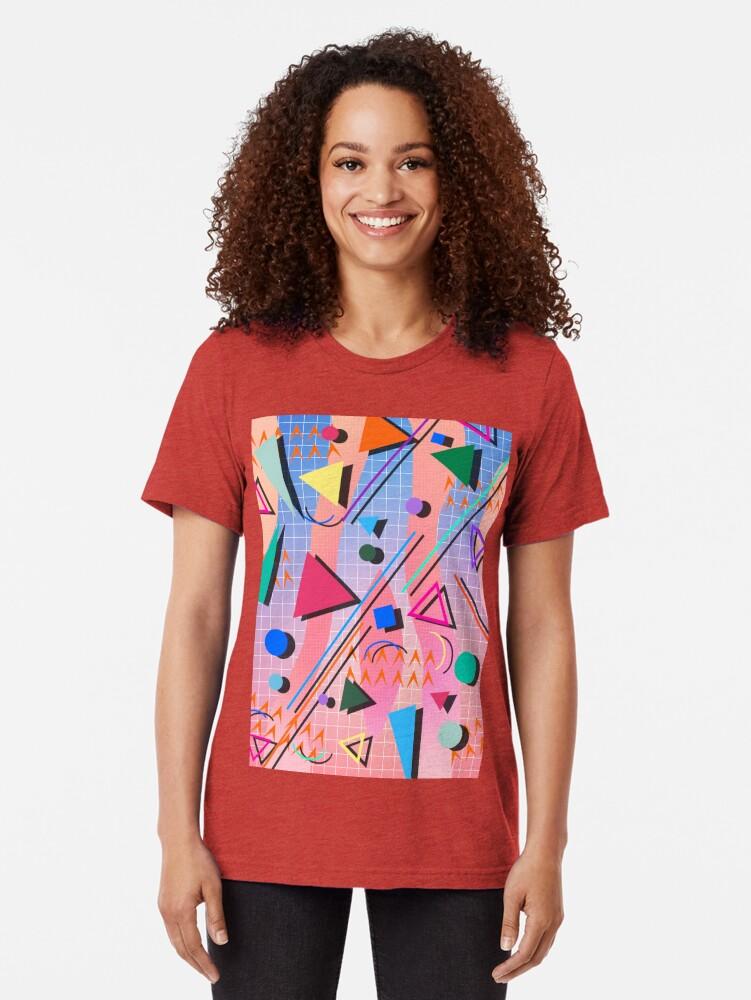 Alternate view of 80s pop retro pattern 2 Tri-blend T-Shirt