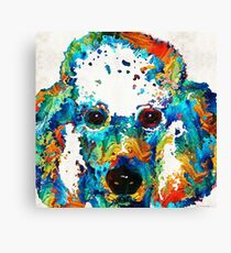 Colorful Poodle Dog Art by Sharon Cummings Canvas Print
