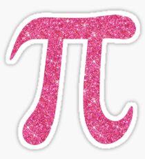 Pink glitter pi symbol sticker - PRINTED IMAGE Sticker