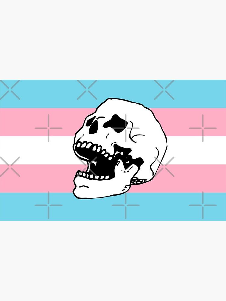 trans pride flag skull  by craftordiy