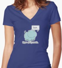 Hippo-Pottymouth Women's Fitted V-Neck T-Shirt