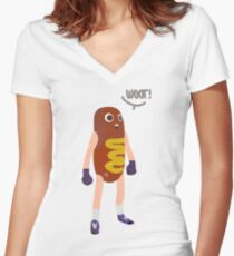 Hot dog man Women's Fitted V-Neck T-Shirt
