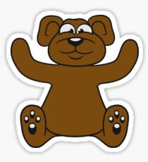 embracing funny sitting cute little teddy thick sweet cuddly comic cartoon Sticker