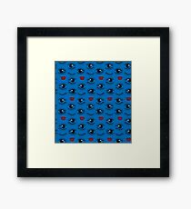 Eyes and lips  silhouette seamless pattern. Stylish trend design  Framed Print