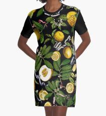 Lemon Tree - Black Graphic T-Shirt Dress