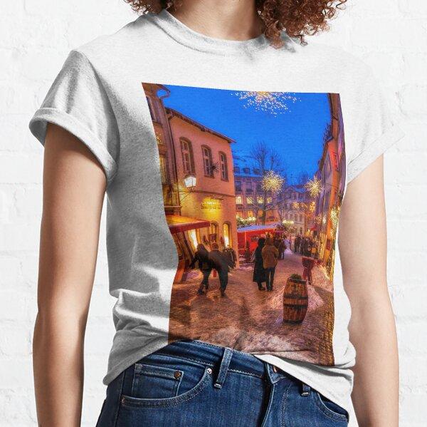 Night winter street scene in Bamberg, Germany Classic T-Shirt
