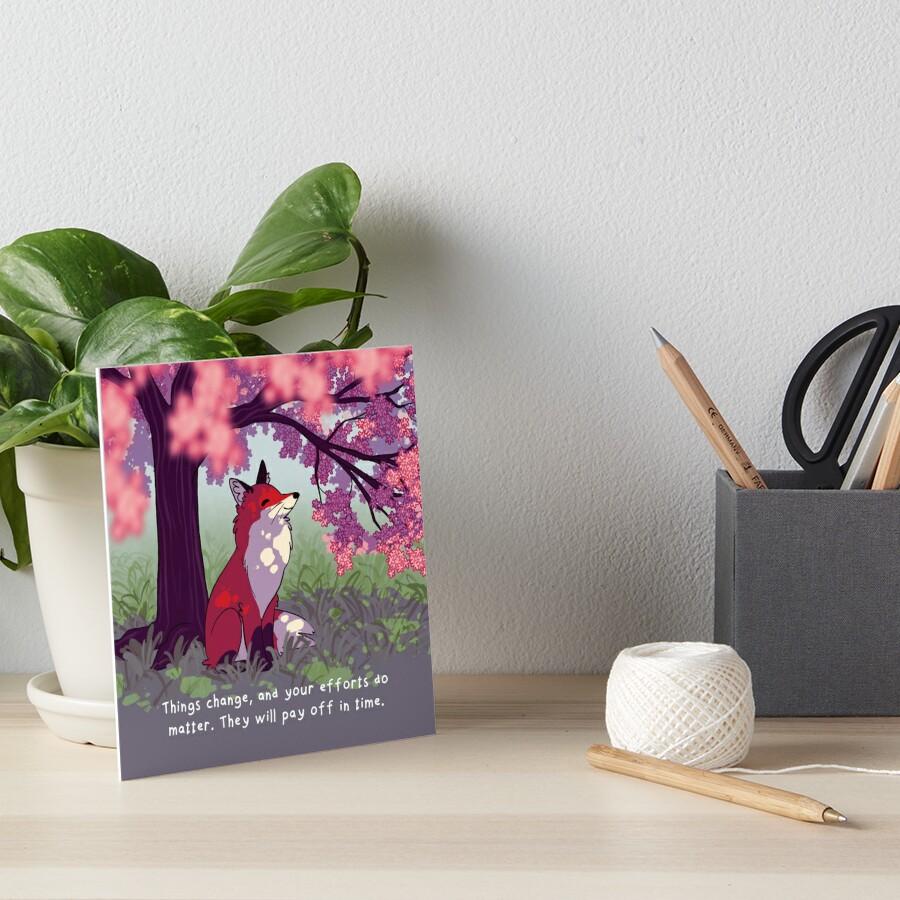 """Things Change"" Sakura Tree Fox Art Board Print"