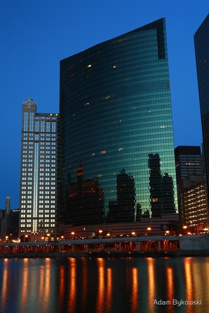 Evening at 333 Wacker Building by Adam Bykowski
