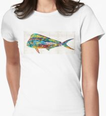 Colorful Dolphin Fish by Sharon Cummings Women's Fitted T-Shirt