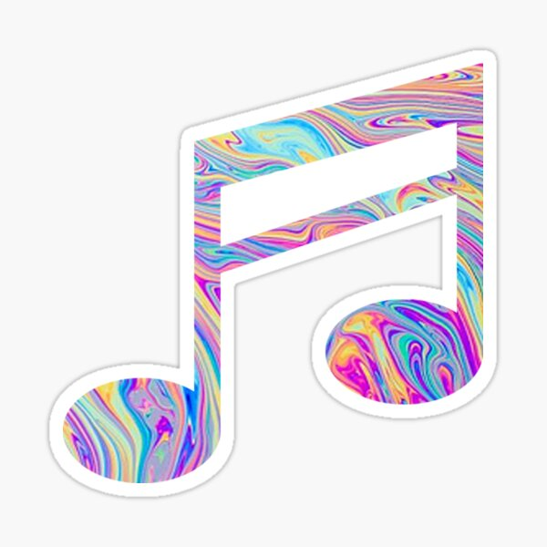 Rainbow Swirl Music Note Sticker