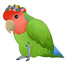 Green Flowercrown Peacfaced Lovebird by PrincessParrot