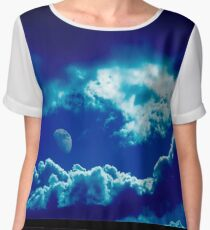 Blue clouds and moon  Women's Chiffon Top