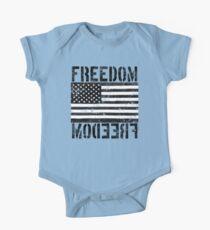 Freedom Black and White US Flag  One Piece - Short Sleeve