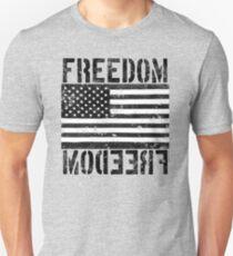 Freedom Black and White US Flag  Unisex T-Shirt
