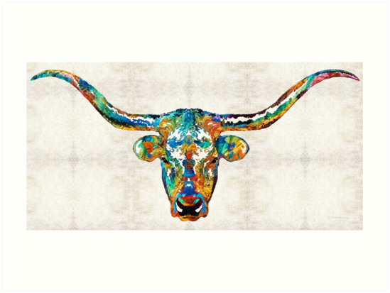 Colorful Longhorn Art By Sharon Cummings by Sharon Cummings