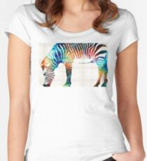 Colorful Zebra Art by Sharon Cummings Women's Fitted Scoop T-Shirt