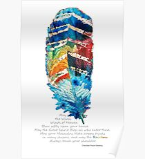 Colorful Feather Art - Cherokee Blessing - By Sharon Cummings Poster