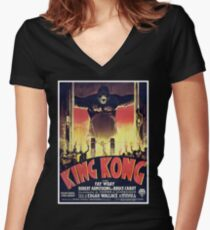 King Kong Women's Fitted V-Neck T-Shirt