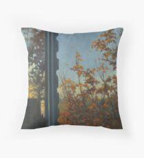 Autumn window view Throw Pillow