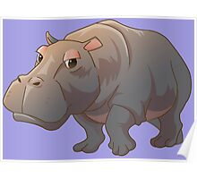 Cute cartoon hippo Poster