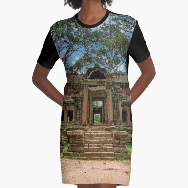 Angkor Wat Cambodia Ancient Temple Graphic T-Shirt Dress