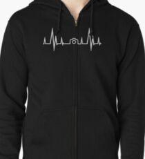 Photography Heartbeat (Alternate White Version) Zipped Hoodie