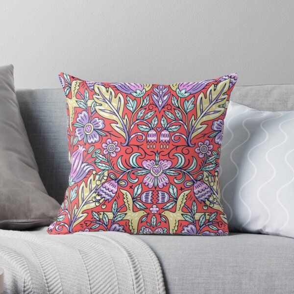 Ornamental Pattern With Purple and Red Color Throw Pillow