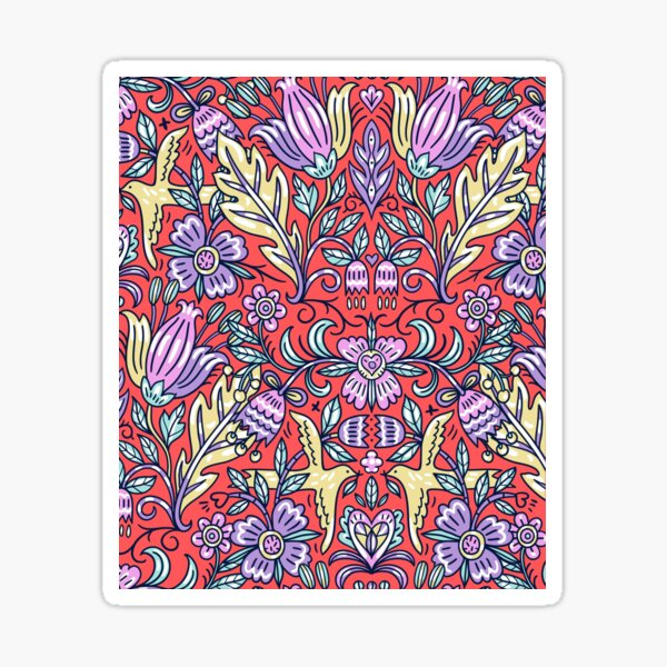 Ornamental Pattern With Purple and Red Color Sticker