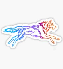 Colorful Tribal Abstract Running Wolf Sticker