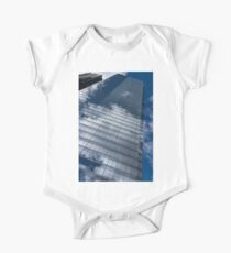 Reflected Sky - Skyscraper Geometry With Clouds - Right One Piece - Short Sleeve
